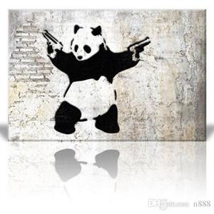 Tabancalar Wall Art Ev Dekorasyonu On Yüksek Kaliteli Tuval A144 ile Panda Bear Boyama Handpainted HD Baskı Modern Karikatür Hayvan Pop Art Yağı
