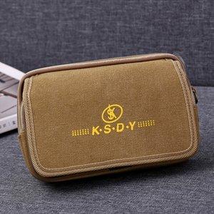 Duplo Zippers Homens Bloco de Fanny Mobile Phone saco preto lona Brown Coin Purse Burse bolso de tecido Packs sacos de cintura bolsas Homem