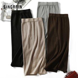 SINGRAIN Women sweater skirt pencil midi knitted skirt high waist skirts womens winter long warm knitting skirts split bottoms Y200704