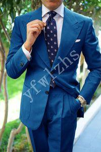 Popular Two Buttons Groomsmen Peak Lapel Groom Tuxedos Men Suits Wedding Prom Best Man Blazer ( Jacket+Pantst+Tie) Y88