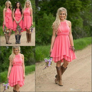 2019 Country Style Short Bridesmaid Dresses Watermelon Royal Blue Light Blue High Low Cheap Halter Neck Ruched Backless Summer Boho Dresses