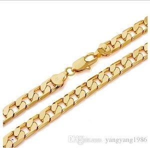 hombres Splendid amarillo fino joyas de oro libre del envío 14K collar de oro 23.6inch cadena sólida