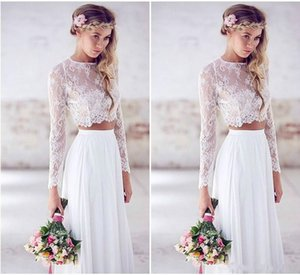 2020 Cheap Beach Wedding Dresses Long Sleeves Lace Chiffon Floor Length Custom Made Two Pieces Boho Wedding Gowns Fast Shipping