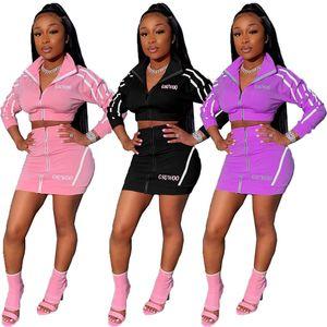 أعلى أزياء المرأة المحاصيل + تنورة 2 قطعة تعيين مثير فستان عارضة تناسب طويلة الأكمام سستة سترة + حزمة الورك تنورة قصيرة الملابس الجديدة 2019 2212
