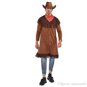 Tema Halloween Costume e Fanny Party Dress Cosplay Roupa Com Lenço Designer Jacket índios Cowboy Mens