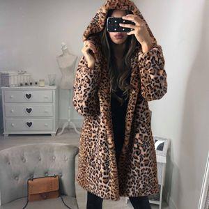 Leopard gedruckte Frauen langer Mantel-Winter-Plüsch-Warm-Pelz-Hoodie Jacken Oberbekleidung Mode-Damen lösen Kapuze Mäntel Overcoat