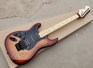 Esquerda / Direita Guitarra elétrica com folheado de árvore-burl, rabote de bordo de vieira, Floyd Rose, Black Hardqare, pode ser personalizado como pedido
