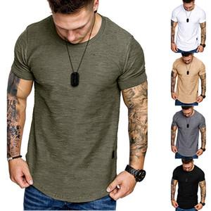 Mens progettista solido di colore magliette di modo Maniche corte Mens Estate Top Man O Neck Tees regolare Lunghezza