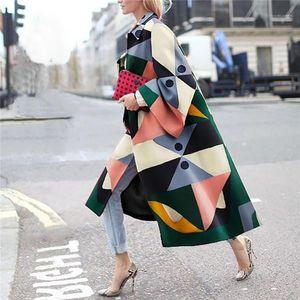 Baskılı Coats Moda Hırka Yün Karışımları Casual Yaka Boyun Dış Giyim Kış Bayan Dijital