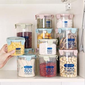 Mutfak şeffaf konserve kapak plastik tane depolama kutular aperatif, muhafaza kutusu Kavanozlar 600 mi / 800 mi / 1000 ile kutular depolama tankları sızdırmaz