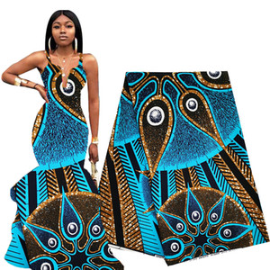 Tissu plus récent africaine Wax 6 Yards Ciel Bleu Ankara Tissu africain Véritable WAX Imprimer Polyester 2020 Tissu nigérien pour les femmes Robe