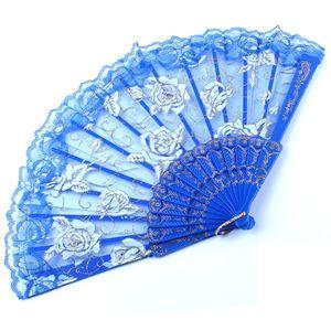 İspanyol tarzı gül çiçek tasarım plastik çerçeve dantel ipek el fanı, çin zanaat katlama fan 40 ADET