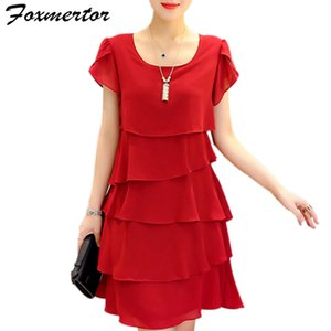 2020 New Women Plus Size 5XL Summer Dress Loose Chiffon Cascading Ruffle Red Dresses Causal Ladies Elegant Party Cocktail Short MX200518