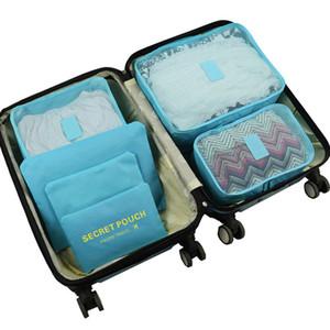 6pcs / set Organisateur Voyage Vêtements Valise Kit de finition Portable Sacs Partition Pochette de rangement Accueil Accessoires Voyage