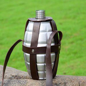 64 oz Landmine a forma di acciaio inossidabile Hip Boccette Grande capacità metallica bottiglione da esterno portatile Bottiglie bollitore con Holster VT1323