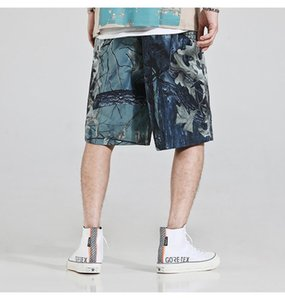 2020 men shorts casual fashion branch oil painting reflective shorts letter logo3M reflective design function wind full wild shortss