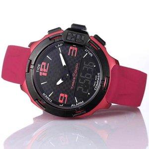 2020 Art und Weise Mens Smart-Uhren T081 Schirm Altimeter Kompass Chrono-Quarz-Uhr-Armbanduhr mit rotem Gummibügel und Faltschließe