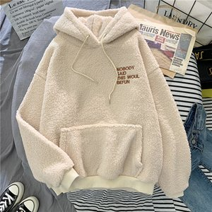 Autumn Winter Coat Pink Sweet Hooded Sorry Print Harajuku Loose Pocket Hoodies Womens Fleece Flannel Pullover Female Sweatshirt