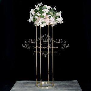 10PCS nueva etapa centros de mesa decoración de la boda puesto de flores pieza central redonda mesa de matrimonio pasillo floreros de metal decoración telón