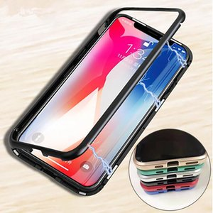 Magnetic Adsorption Case for iPhone 11 11pro 11proMax 7plus 8plus 7 8 x xs XR xsMax 6 6plus with 9H HD Tempered Back