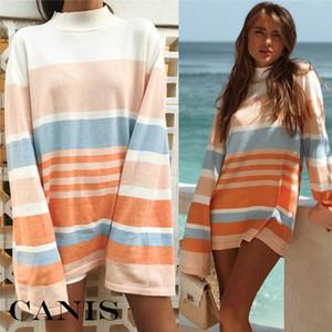 Womens Long Sleeve Striped Flare Stampa inverno camicetta signore Pullover allentato tunica a righe maglietta casuale Top