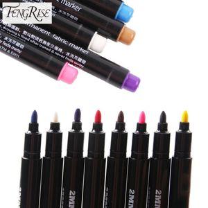 Краска FENGRISE Постоянного маркер ткань Маркировка Ручка Multicolor Эскиз Textile Лоскутную ремесла Карандаш принадлежности для шитья