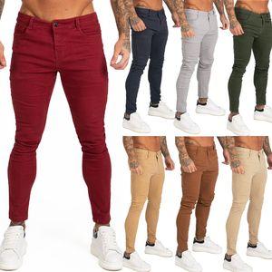 Gingtto tejanos del ajustado de Super Skinny Jeans para el desgaste de hombres de la calle Hio Hop tobillo Cut apretado estrechamente al cuerpo del tamaño grande de estiramiento zm05 CX200701