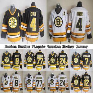 Boston Bruins CCM Vintage jerseys 4 ORR 8 NEELY 7 ESPOSITO 24 O`REILLY 77 BOURQUE 12 OATES Men's Hockey Jersey