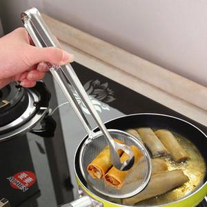 Huile en acier inoxydable Scoop aliments frits pêche Crépine d'huile de cuisine multifonctions de vidange Passoire alimentaire Cuisine clip Accessorie DBC BH3023