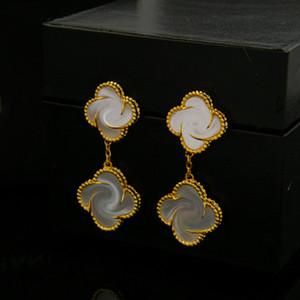 Trèfle blanc Shell Pendentif Boucles d'oreilles pour Bijoux Agate vert Femmes