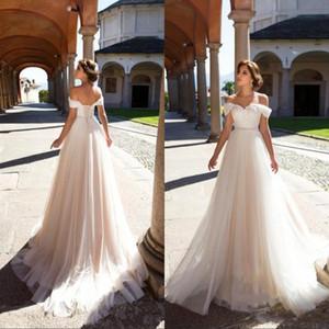 2020 Elegant Simple Off The Shoulder Wedding Dresses A Line Lace Applique With Sash High Waist Lace Up Wedding Party Bridal Gowns BA7443