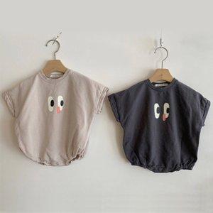 New Baby Onesie algodão de manga curta babador Rapazes Meninas roupas engraçadas dos desenhos animados Impressão Roupa 0-24M