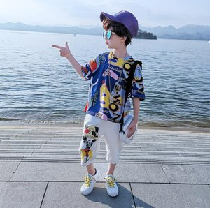 New best selling boys' summer suit children's middle and big children's handsome boys' two piece fashion suit