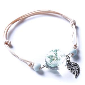 Nouveau Boho Bracelet vintage fait main réel en verre feuilles sèches fleur boule Weave Bracelet réglable Bracelets pour Woment Bijoux cadeau