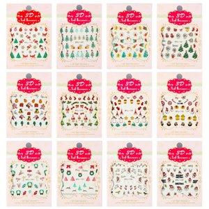 Оптовая продажа воды передачи искусства ногтя стикер счастливого Рождества 3D золотые элементы наклейки для ногтей обернуть наклейки маникюра наклейки для Най