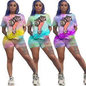 Women designer ripped plain t-shirt shorts gradual tracksuit 2 piece set hole summer casual clothes outfits S-XL capris sports suit DHL 3197