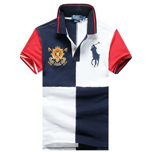 Top Quality Fashion Designer RL RACING Brand POLO #016 US Off Luxury Summer Mens Short sleeved Casual White Embroidery Stripe Lapel T-Shirt