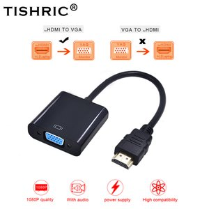 Cheap Cables TISHRIC HDMI VGA Adapter Cable Male Female HDMI2VG Converter Adapter 1080P Digital to Analog Video Audio For