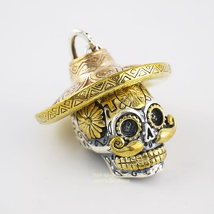 925 Sterling Silber Modeschmuck Sugar Skull Skeleton Split Anhänger Halloween Biker für Männer A2704