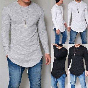 de Nova Men Casual camiseta de algodão manga comprida O-Neck Silm Fit T-shirt Mens Moda Sólidos cor camisetas Homens Roupa S-3XL