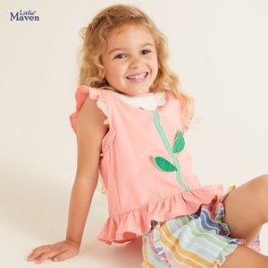 Camisa pequena maven meninas Verão meninas novas camisetas Flor Folha Applique Crianças Tops T para Cores crianças roupas rosa camisetas