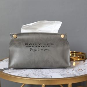 Nordic Ins style Boîtes tissu rétro simple en cuir PU Tissue Box Accueil Salon Chambre Table basse Tissue Box XD23363