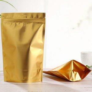 50pcs Dumb gold self-supporting bone bag Aluminum foil ziplock bags Dried fruit food packaging Powder sealed pouch