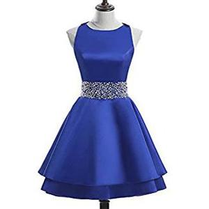 Jewel декольте рукавов атласная Royal Blue Короткие платья выпускного вечера A-Line с бисером талии Дешевые Homecoming платья онлайн Довольно Бальные платья