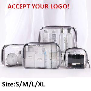 Viagem transparente Cosmetic Bag PVC mulheres Zipper composição desobstruída Bolsas Bath Higiene Pessoal Wash Beauty Case Bag Make Up Organizer aceitar a impressão do logotipo