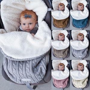 Новорожденный младенец овсянка толстая детская детская вязаная детская коляска защищает ребенка от холода и ветра спальный мешок