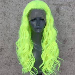 Neon Yeşil Doğal Dalga Cosplay Drag Kraliçe Parti Peruk Sentetik Dantel Açık Peruk Isıya Dayanıklı Fiber Saç