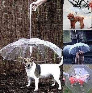 Transparente PE Animal de Estimação Umbrella Dog Puppy Umbrella Chuva Engrenagem com o Cão Leva Mantém Pet Travel Ao Ar Livre Pet Suprimentos