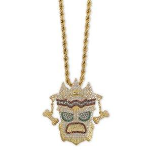 Collane con maschera in stile indiano placcato in oro 18 kt Moda uomo Donna Multicolore qualità zircone Micro pavimenta il pendente Collane hip-hop