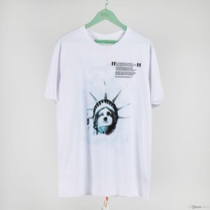 OFF Beauty tide OW white Statue of Liberty series casual sports round neck short sleeve T-shirt men and women